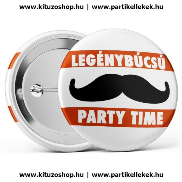 Party time legénybúcsú kitűző